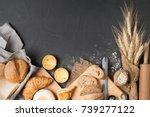 bakery concept  bread ...   Shutterstock . vector #739277122