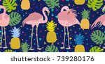 colorful tropical print.... | Shutterstock .eps vector #739280176