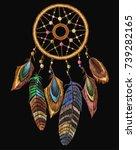 embroidery dream catcher boho... | Shutterstock .eps vector #739282165