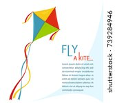 fly kite in sky  color kites...   Shutterstock .eps vector #739284946