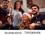 christmas sparklers happy... | Shutterstock . vector #739289698