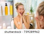young beautiful woman touching... | Shutterstock . vector #739289962