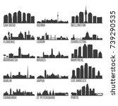 romantic cities most famous... | Shutterstock .eps vector #739290535