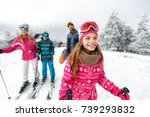 cute girl skier skiing with... | Shutterstock . vector #739293832
