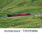 steam train ascending the top... | Shutterstock . vector #739293886
