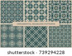 collection of ornamental... | Shutterstock .eps vector #739294228