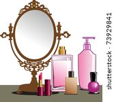 makeup and mirror | Shutterstock .eps vector #73929841
