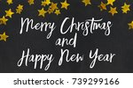 merry christmas and happy new... | Shutterstock . vector #739299166