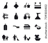 16 vector icon set   broom  rag ... | Shutterstock .eps vector #739303402