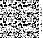 seamless pattern with faces of... | Shutterstock .eps vector #739306642