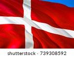 denmark flag. flag of denmark.... | Shutterstock . vector #739308592