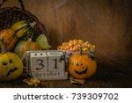 halloween concept   pumpkins... | Shutterstock . vector #739309702