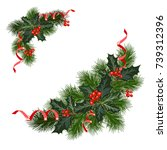 christmas decorations with fir... | Shutterstock .eps vector #739312396