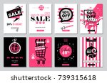 set of 2018 happy new year sale ... | Shutterstock . vector #739315618