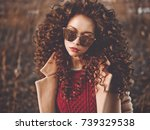 outdoor fashion photo of young... | Shutterstock . vector #739329538