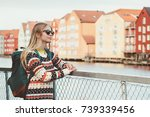 young woman traveling in... | Shutterstock . vector #739339456