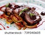 appetizing beef in sweet sauce... | Shutterstock . vector #739340605