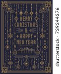 merry christmas greeting card... | Shutterstock .eps vector #739344376