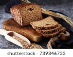 sliced rye bread on cutting... | Shutterstock . vector #739346722
