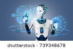 robot cybernetic organism works ... | Shutterstock .eps vector #739348678