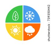 flat vector four seasons icon.... | Shutterstock .eps vector #739350442