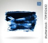 blue brush stroke and texture.... | Shutterstock .eps vector #739352632