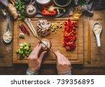 vegetarian stir fry cooking... | Shutterstock . vector #739356895