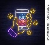 casino neon sign. slots. big... | Shutterstock .eps vector #739366072