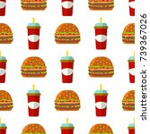 colorful cartoon fast food... | Shutterstock .eps vector #739367026