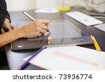 closeup of female dressmaker... | Shutterstock . vector #73936774