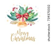 merry christmas watercolor... | Shutterstock . vector #739370332