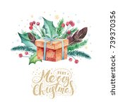 merry christmas watercolor... | Shutterstock . vector #739370356