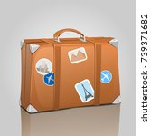 travel suitcase with stickers | Shutterstock .eps vector #739371682