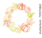 thanksgiving background. wreath ... | Shutterstock .eps vector #739374862