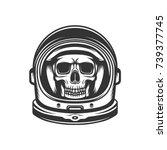 dead astronaut. skull in... | Shutterstock .eps vector #739377745