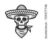 mexican skull in sombrero | Shutterstock .eps vector #739377748