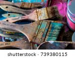 paint brushes colorful used  | Shutterstock . vector #739380115