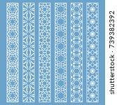 vector set of line borders with ... | Shutterstock .eps vector #739382392