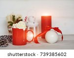 red mug with hot chocolate with ... | Shutterstock . vector #739385602