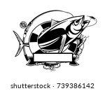 tuna big fishing on white logo...   Shutterstock .eps vector #739386142