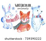 christmas watercolor animals... | Shutterstock . vector #739390222