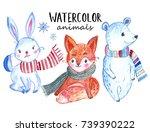 christmas watercolor animals... | Shutterstock . vector #739390222