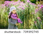 happy little girl is walking in ... | Shutterstock . vector #739392745