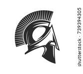 gladiator helmet. spartan helm | Shutterstock .eps vector #739394305
