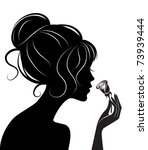 beauty girl silhouette with rose   Shutterstock .eps vector #73939444