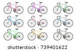 set of vectors bikes   Shutterstock .eps vector #739401622