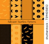 set of 8 halloween seamless... | Shutterstock .eps vector #739405852