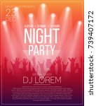 dance party flyer or poster... | Shutterstock .eps vector #739407172