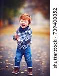 happy laughing toddler baby boy ... | Shutterstock . vector #739408852