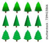 set of christmas trees.vector | Shutterstock .eps vector #739415866